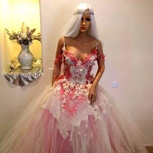 ELLA Ivory & Coral Lace Wedding Ballgown Set